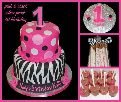 Pink and black zebra print 1st Birthday cake, smash cake and sweets