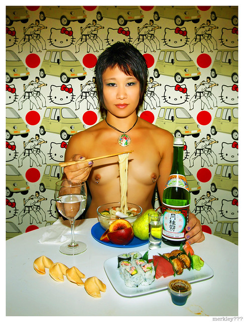 Jen - Dinner w/ Chopsticks, Udon, a Peach, a Pear, Sake, Water in a Wine Glass, a Rectangular Plate of Sushi, Take Out Soy Sauce, Four Fortune Cookies & Wallpaper w/ Graphics Including Hello Kitty, The Japanese Flag Sun Spot Dealie...