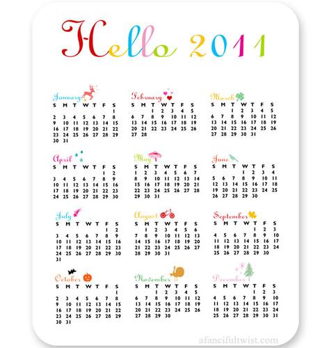Hello 2011 - Calendar Card