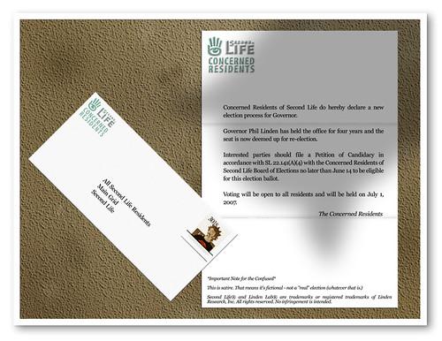 SLelections: Concerned Residents (envelope and letter)