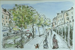 Blvd St Michel, Paris (Just Back) Tags: paris sidewalk watercolor dog city stmichel s people art scene history cluny walking strill leash quartier quarter latin subway metro urban traffic france morning sky alive