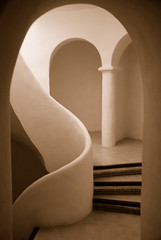 Sepia Arches (juliaclairejackson) Tags: vacation holiday coffee june sepia architecture stairs island hall spain soft interior smooth arches spanish ibiza staircase organic archway elegant eivissa curve tones seductive elegance balearic balearics mywinners anawesomeshot anawsomeshot hotelhacienda