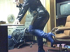 PVC Catsuit and Blue Thigh boots (badger112957) Tags: blue black leather boots thigh heels catsuit pvc