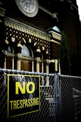 No Trespassing Outside of Church