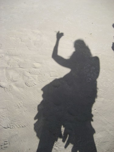 Cheers! My Shadow after Critical Tits, Burning Man 2007.