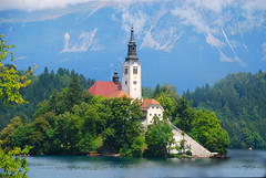 Sv. Marija church (pninaN) Tags: blue lake church landscape slovenia bled slovenija abigfave aplusphoto superhearts nikond40x