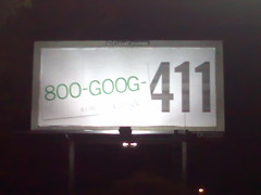 800-GOOG-411 billboard in Oakland, California - at night