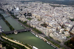 Paris - View northwest from Tour Eiffel (wallyg) Tags: bridge paris france seine river europe eiffeltower aerial toureiffel pont riverseine pontdebirhakeim worldfederationofgreattowers wfgr