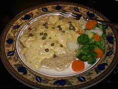 9.)  serve over pasta with steamed veggies, garnish with capers