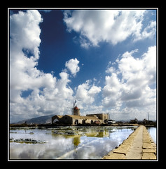 The Salt Fields (DHJ.V) Tags: sky italy reflection mill water clouds landscape bravo italia salt explore sicily sicilia trapani themoulinrouge saltmill interestingness406 dhjv 25faves explore406 superaplus aplusphoto superhearts ostrellina