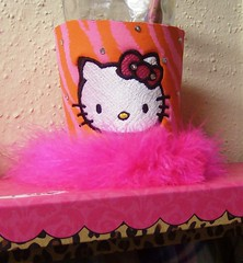 Hello Kitty Face (Order at: thekooziefloozie@aol.com) Tags: wedding orange cats beer bar hellokitty feathers lsu zebra fleurdelis custom sodas rhinestones personalized initials hotpink receptions koozies sanario