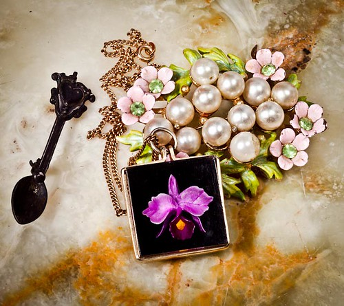 orchid, brooch, spoon