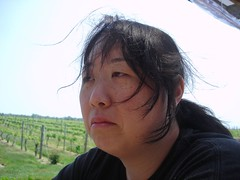Scuzzi shows us what she thinks of wine (Plaid Ninja) Tags: face vineyard wine alice unhappy estaes scuzzi wolffer