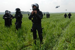 June 6 (Hughes Lglise-Bataille) Tags: color topf25 field germany riot nikon protest photojournalism police demonstration helicopter fields d200 helicopters blockade champ 2007 g8 heiligendamm helicoptre