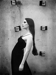 Untitled no. 1 (ljosberinn) Tags: light blackandwhite fashion wall model raw dress editorial forms abandonedbuilding halla ilikecomments