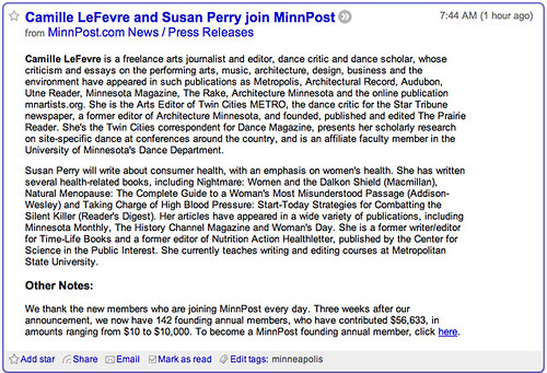 Minnpost in Google Reader