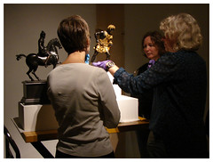 Developing lighting strategies for bronze sculptures.