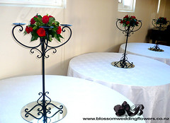 red-rose-candelabras (Blossom Wedding Flowers) Tags: wedding red roses black green cake silver french leaf crystals berries christina pearls loops satin binding aguilera knott candelabras