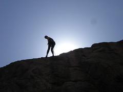 Jenny Rapelling Silouette, Little Eiger Crag, Clear Creek