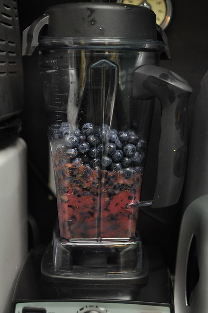 blueberries in the Vitamix