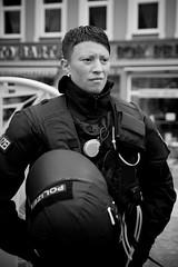 Anti-G8 Demonstrations (20) - 03Jun07, Rostock (Germany) (]) Tags: portrait blackandwhite bw woman girl germany uniform helmet protest police gear demonstration cop rostock 2007 g8 g82007 2007g8