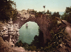 Arch Rock, Mackinac Island Michigan, c. 1899 (farlane) Tags: history sailboat notmine michigan mackinacisland lakehuron archrock