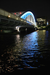to blue (OiMax) Tags: bridge blue light reflection japan night river geotagged tokyo shinkawa geo:lat=35676176 geo:lon=139786625
