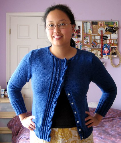 vintage blue cardigan, done
