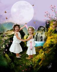 sisters (mylaphotography) Tags: girls art fairytale garden waterfall digitalart manipulation fairy fantasy greens dreamy rahi childphotography jaber mylaphotography michiganstudiophotography fairytalephotography