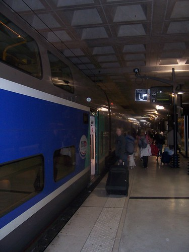 Boarding the TGV Duplex at Lille Europe