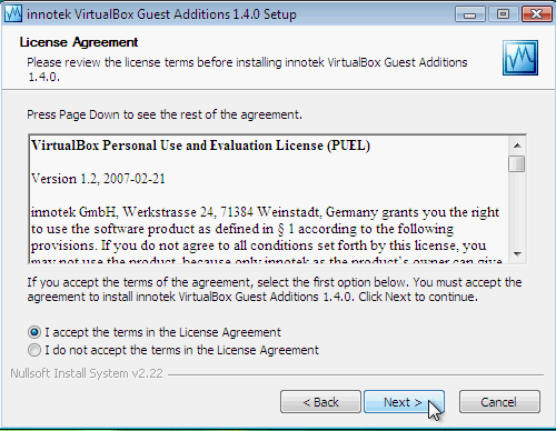 Fig. 4 - installazione VirtualBox Guest Addition in Windows Vista - accettazione licenza