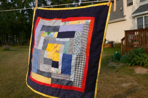 Doll Quilt on the line
