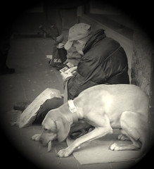A beggar and his dog. - by Jessica Bee