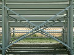 bleachers - backside (laurakaz) Tags: shadows parks symmetry bleachers twincities