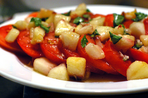 Tomato with Fresh Peach Basil Vinaigrette