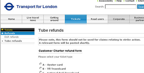 Tube Refund form - look out for how to claim over the strike