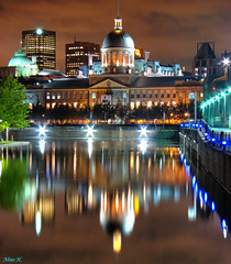 March Bonsecours - Montral (Nino H) Tags: old light canada reflection architecture night port buildings bravo long exposure montral quebec lumire montreal qubec nuit march hdr vieux bonsecours rflexion supershot magicdonkey abigfave aplusphoto goldenphotographer