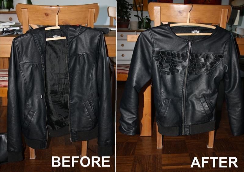 DIY leather scale jacket Maria Korkeila