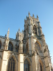 York Minster: Detail (stuartpaterson) Tags: wood york city uk england sky detail tower yorkie rose stone architecture bronze religious king catholic arch christ cross cathedral roman unitedkingdom yorkshire religion tomb gothic style arches medieval norman christian queen constantine nave gb civic mister christianity yorkminster rood romanempire protestant emperor kingrichardiii placeofworship anglosaxon rosewindow reformation romanemperor constantinethegreat emperorconstantine kingedwardiii trancept yorkist waroftheroses neich normanminsterminster