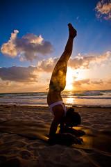 sunrise yoga (eyecbeauty) Tags: ocean beach girl yoga sunrise sand balance flickridol artofimages