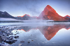 Many Glacier Sunrise (Matt Champlin) Tags: life morning sky mist mountains nature misty fog sunrise landscape big amazing perfect montana peace lakes foggy calm glacier huge towering grinnell swiftcurrent glacierlodge swiftcurrentlake manyglacier glacierhotel swiftcurrentlakesunrise glaciernationalparkscenic glaciernationalparksunrise