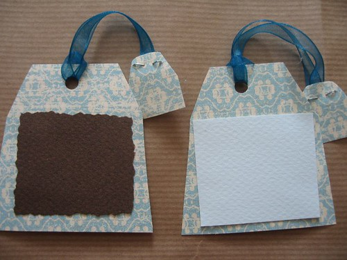 Blue & brown tea tags