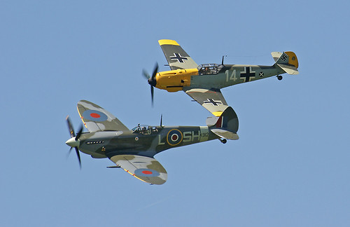 Warbird picture - Spitfire & Bf-109E formation