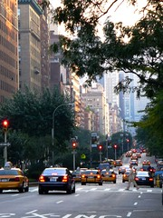 Park Avenue Bustle (dsjeffries) Tags: nyc newyorkcity trees newyork cars buildings traffic manhattan yellowcab pedestrian taxis ues busy rushhour crosswalk cabs bustle uppereastside parkavenue hustle shaded uppereast yellowtaxi