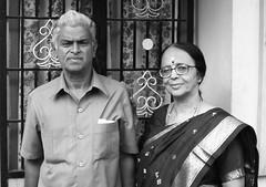 Day 292 (Kamala L) Tags: bw woman india house selfportrait monochrome beautiful couple husband kam sari kamala 365days