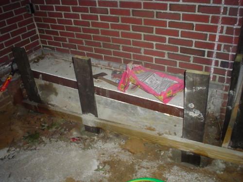 Bench posts sunk