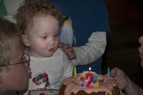 Katie Blows the Candles Out