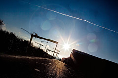 (scarlito (Ryan Wilson)) Tags: sunset sky texture water docks glare crane trails belfast lensflare flare odyssey goliath wolff sampson lagan queensisland harland titanicquarter titanicproject