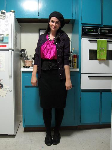 hot pink DKNY shirt purple Cynthia Rowley ruffle cardigan black American