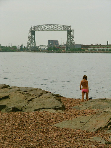 Girl on a beach at Duluth, Minnesota